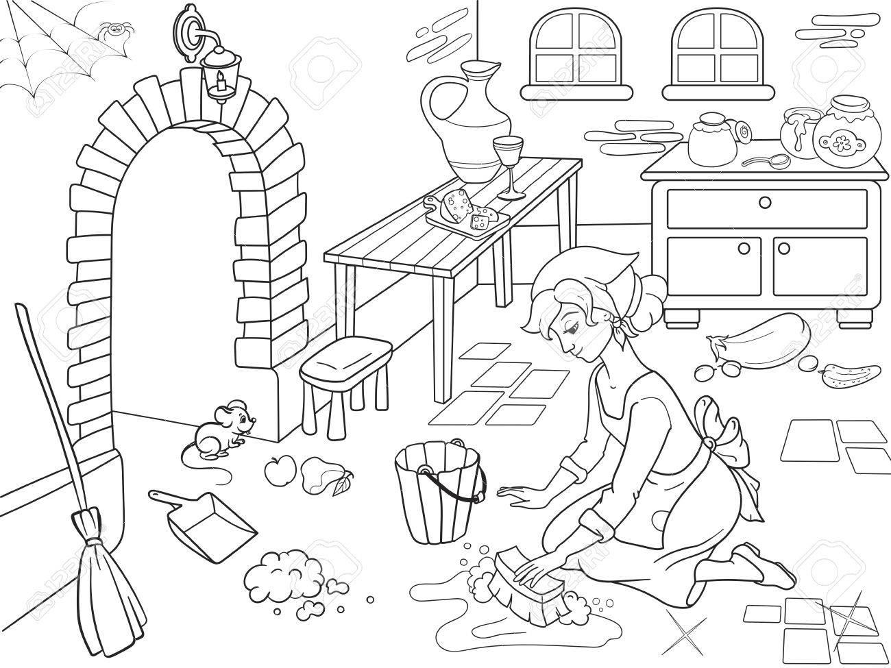 Cendrillon Nettoie La Cuisine. La Fille Sur Le Sol, Autour Du Désordre.  Livre De Coloriage De Dessin Animé. destiné Cendrillon À Colorier