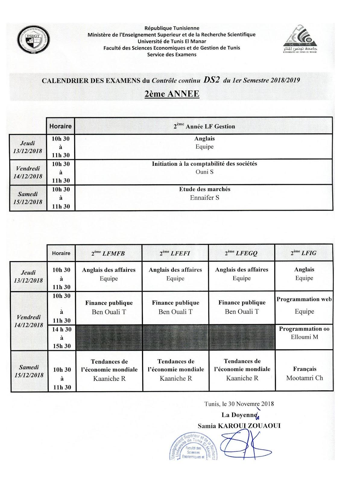 Center> Calendriers Ds 2 Semestre 1 2018-2019 </center> à Calendrier 2Ème Semestre 2018