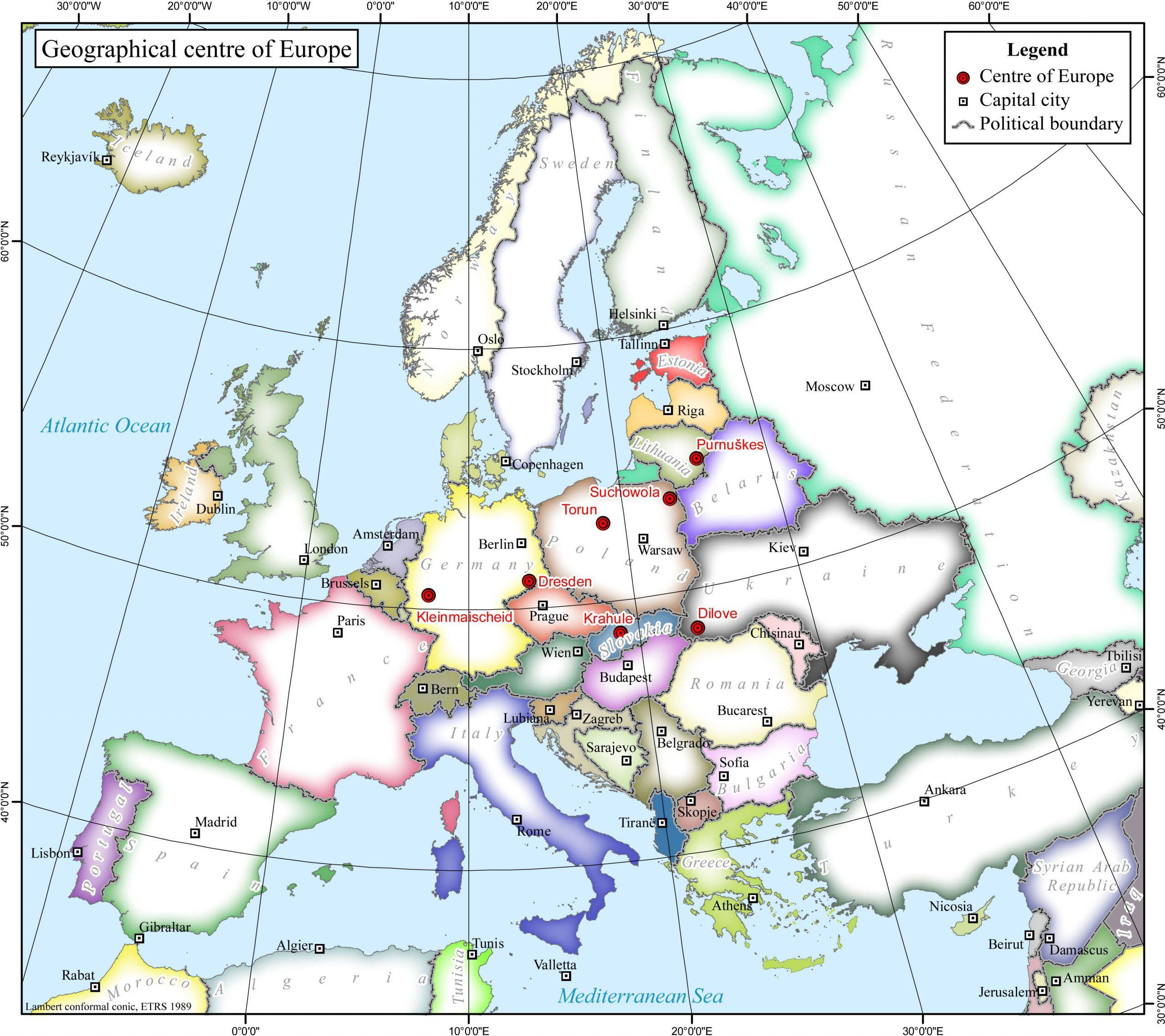 Centre De L'europe — Wikipédia destiné Carte Union Européenne 28 Pays