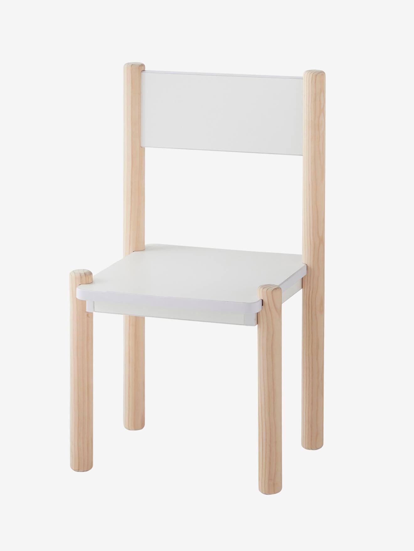 Chaise Maternelle Pour Table De Jeu Ligne Woody Blanc - Bois - Vertbaudet pour Jeux Maternelle En Ligne