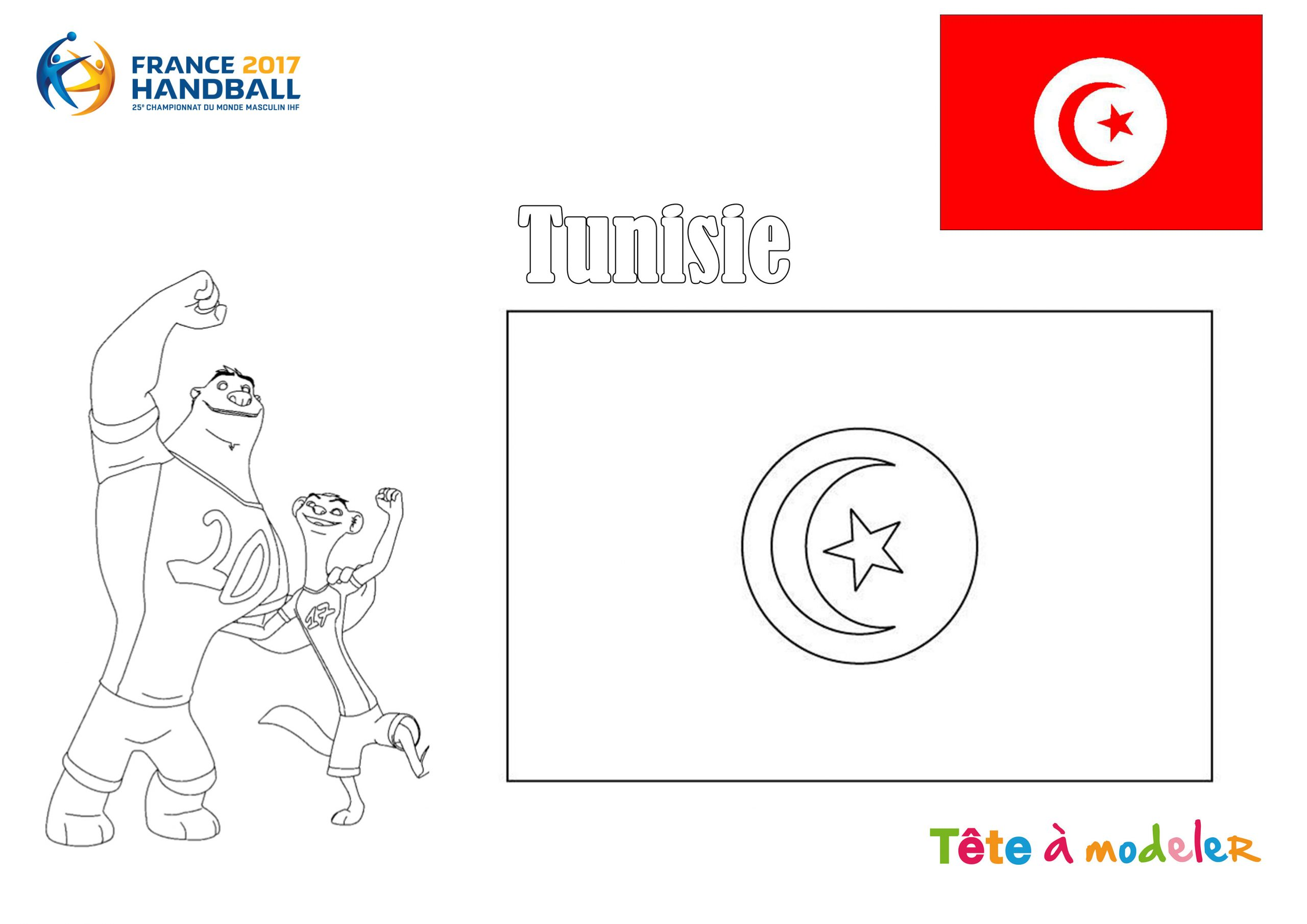 Championnat Du Monde De Handball - Coloriage Tunisie destiné Tous Les Coloriages Du Monde