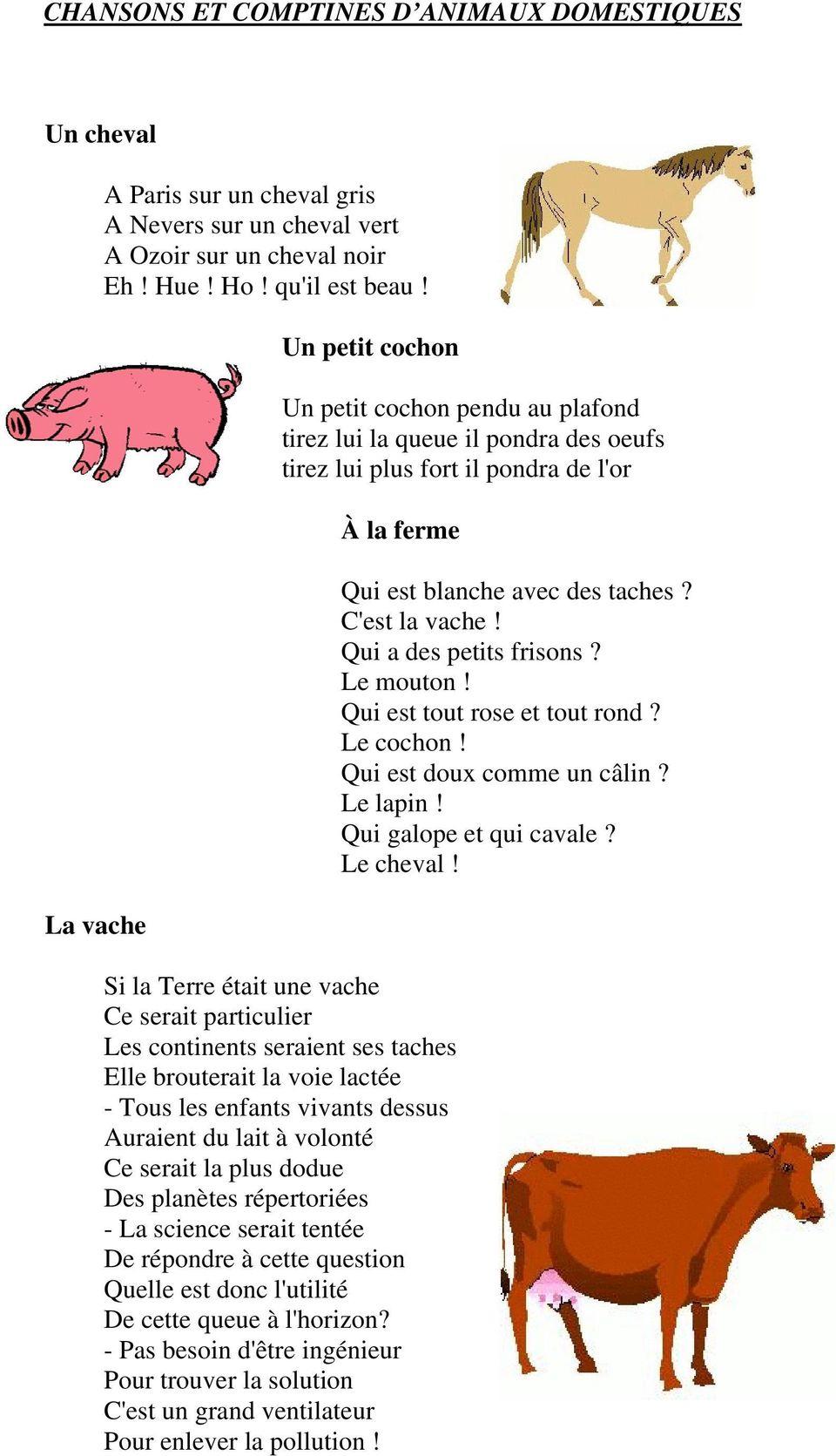 Chansons Et Comptines D Animaux Domestiques. Un Petit Cochon à Les Animaux Domestiques En Maternelle