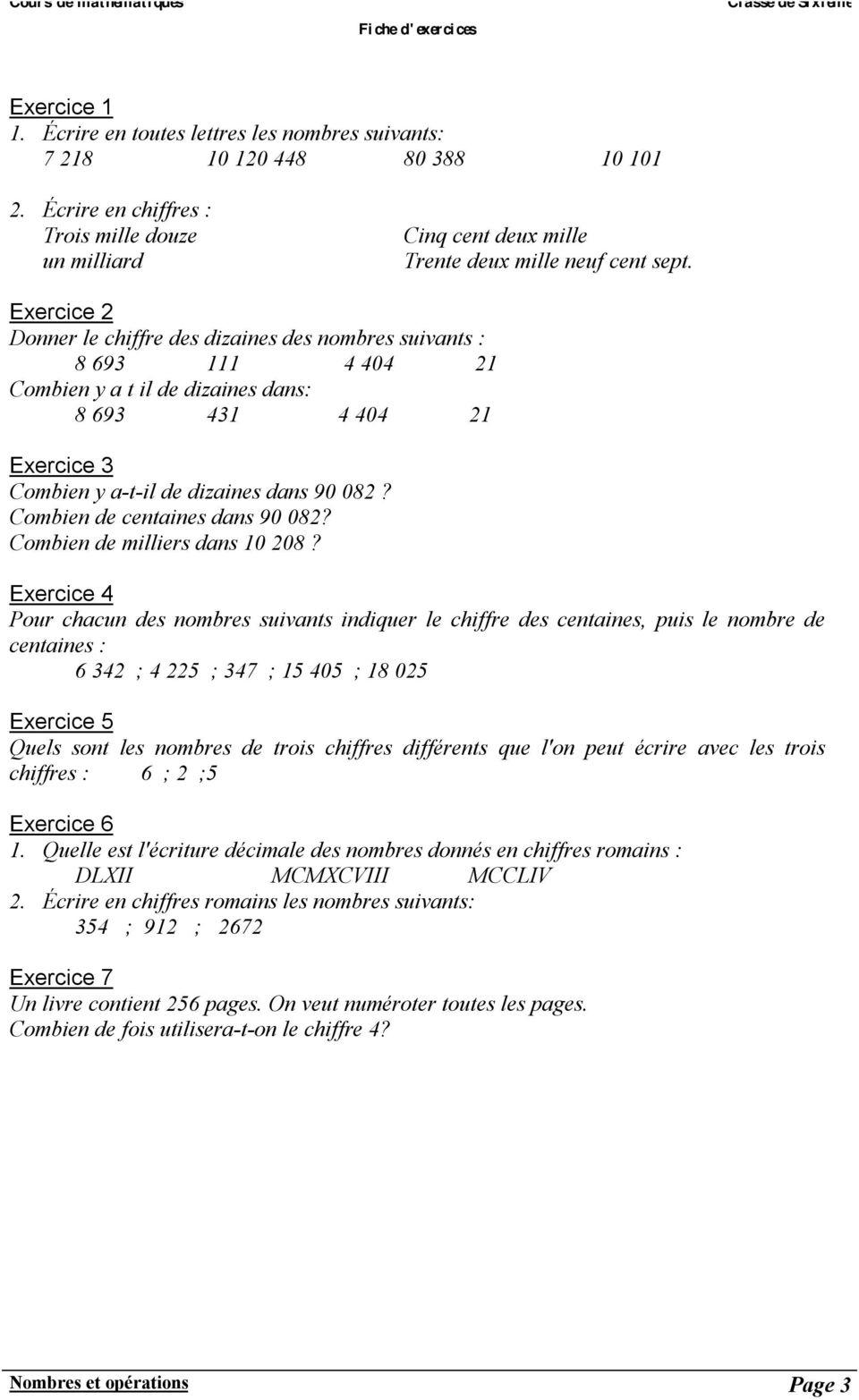 Chapitre 1 Nombres Et Operations - Pdf Téléchargement Gratuit concernant Exercice Chiffre Romain