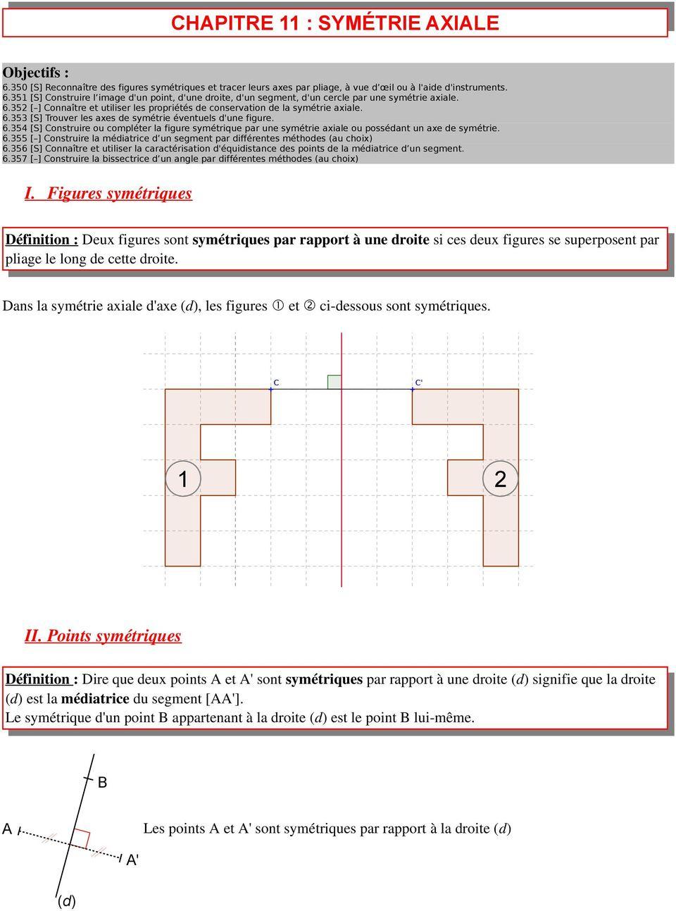Chapitre 11 : Symétrie Axiale - Pdf Concernant Symétrie Cm1 pour Exercice Symétrie Ce1