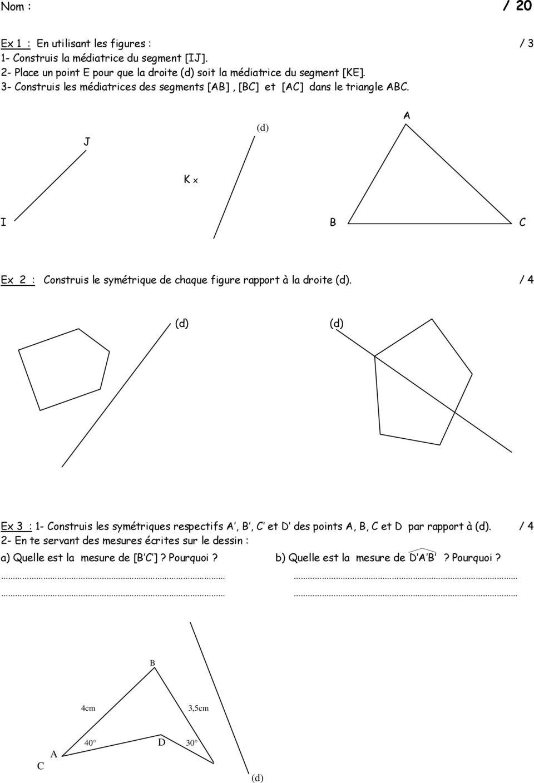 Chapitre 4 : La Symetrie Axiale Et Figures Geometriques avec Symétrie Cm1 Évaluation