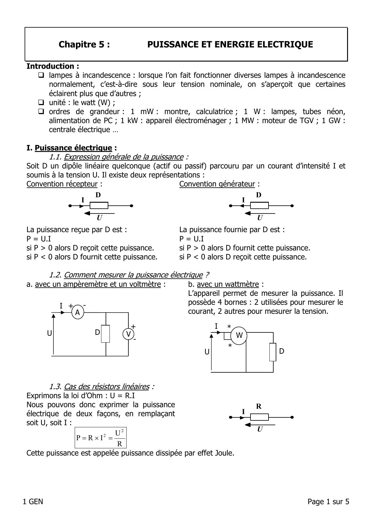 Chapitre 5 : Puissance Et Énergie Électrique pour Puissance 4 A Deux