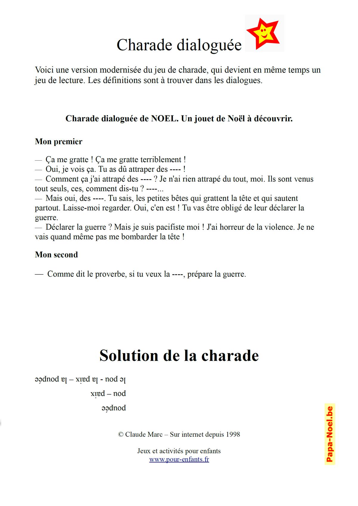 Charades De Noel Archives - Charades, Jeux, Blagues pour Rébus Facile Avec Réponse