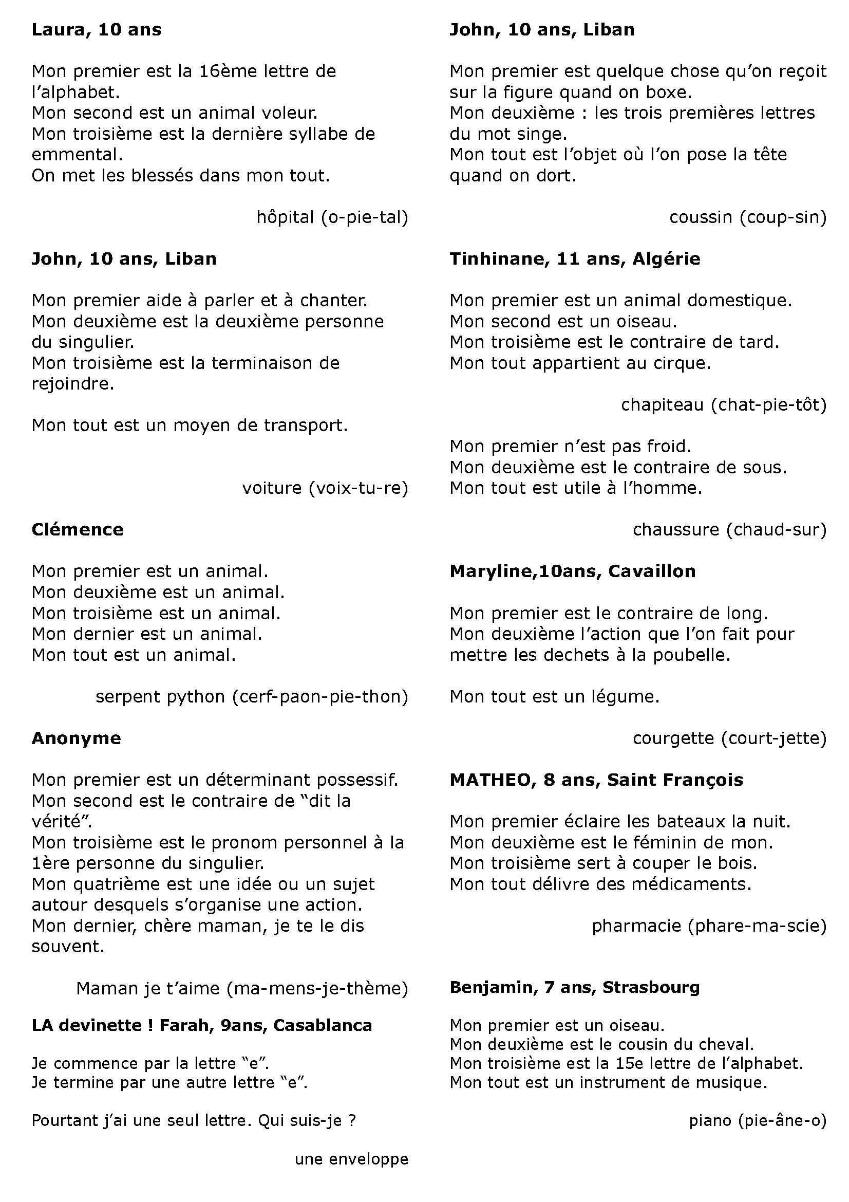 Charades De Vacances À Imprimer (Avec Images) | Charade serapportantà Anagrammes À Imprimer