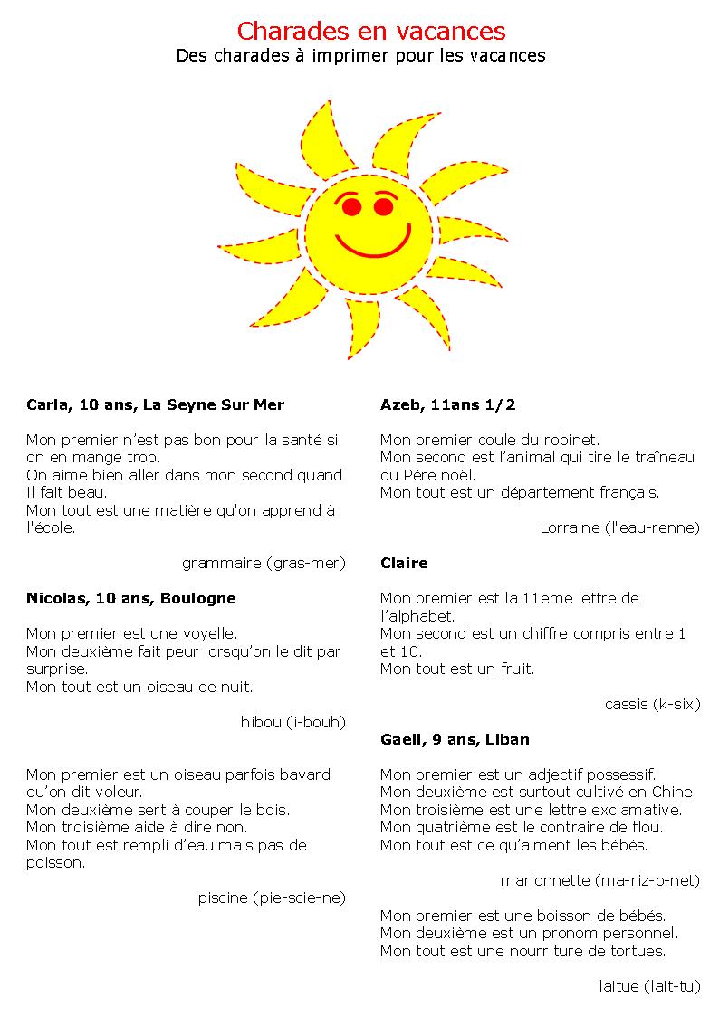 Charades-Vacances-A-Imprimer-1 (794×1123) | Charade dedans Jeux A Imprimer Pour 10 Ans