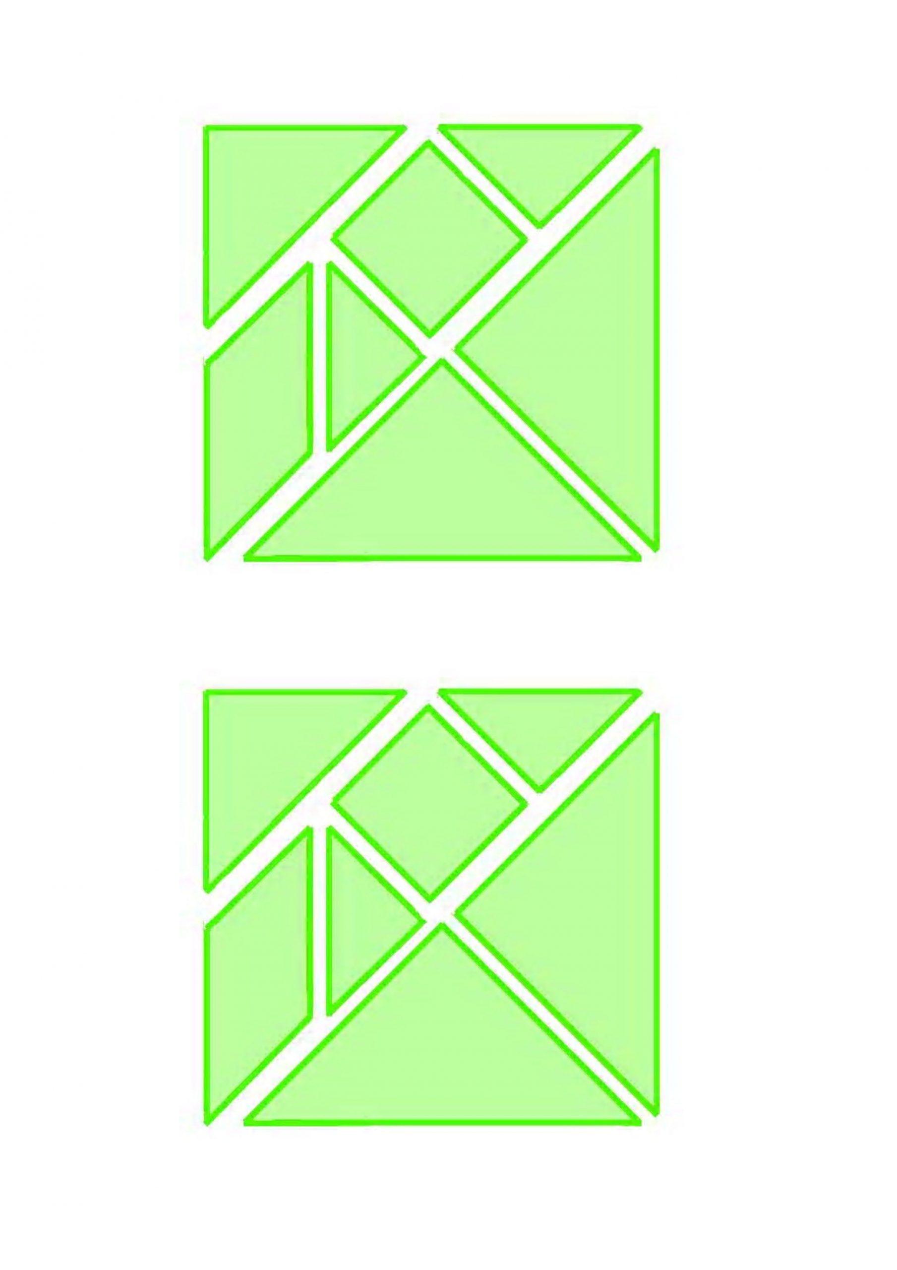 Chasse Au Trésor - Tangram Vert (Les Pièces) à Pièces Tangram