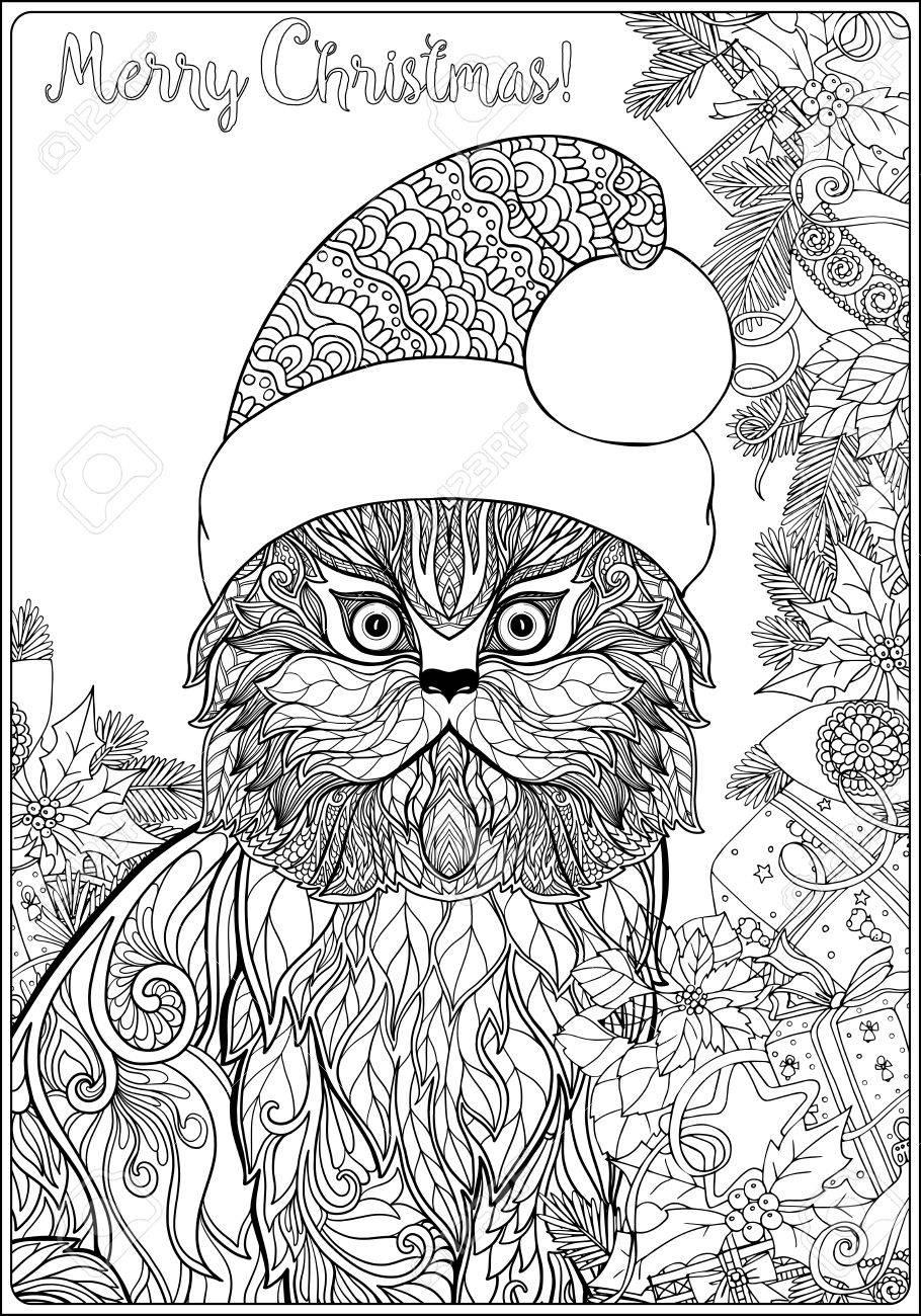 Chat À Motifs Décoratifs Dans Le Chapeau Du Père Noël Sur Un Fond De  L'arbre De Noël Avec Des Jouets Et Des Cadeaux. Livre À Colorier Pour  Adultes. serapportantà Coloriage De Chat De Noel