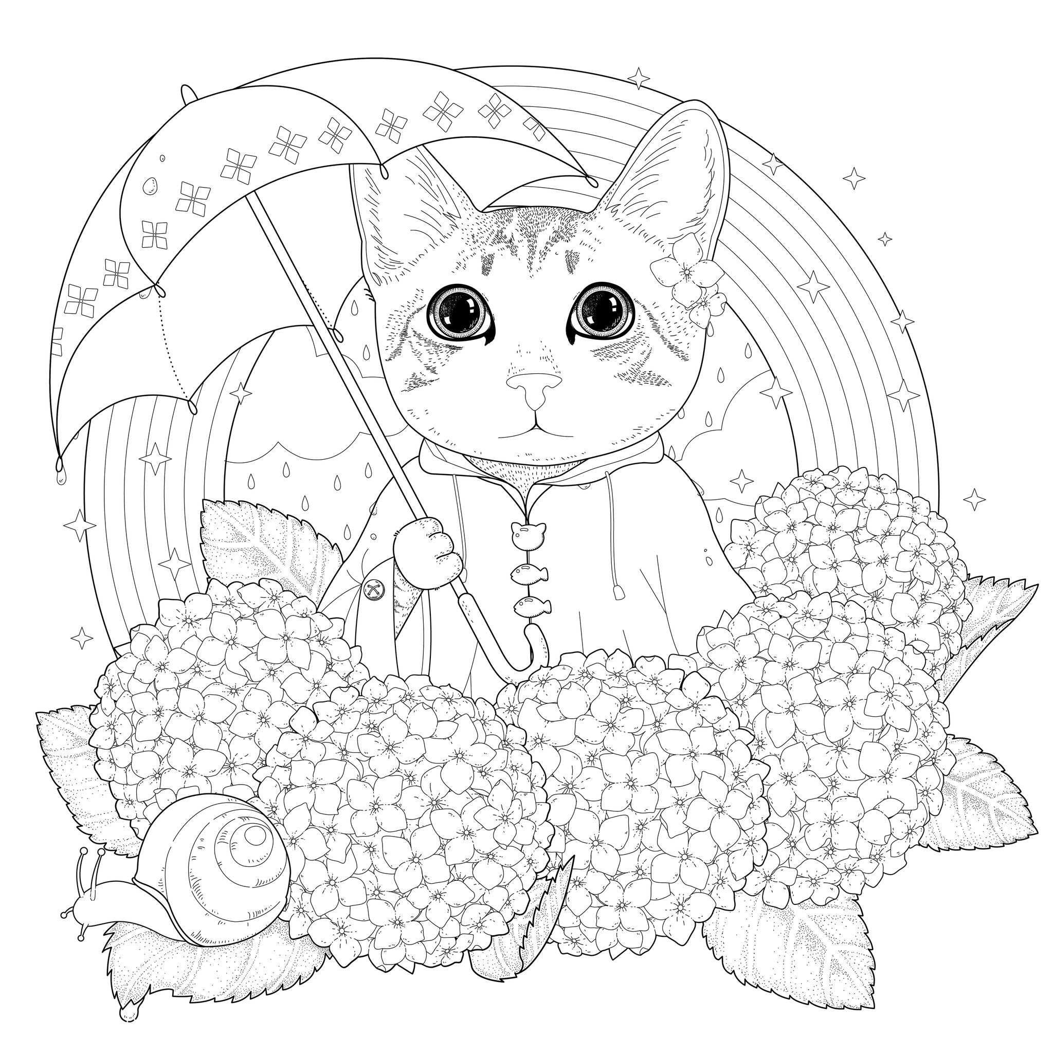 Chat Arc En Ciel Et Mandala - Chats - Coloriages Difficiles encequiconcerne Arc En Ciel A Colorier