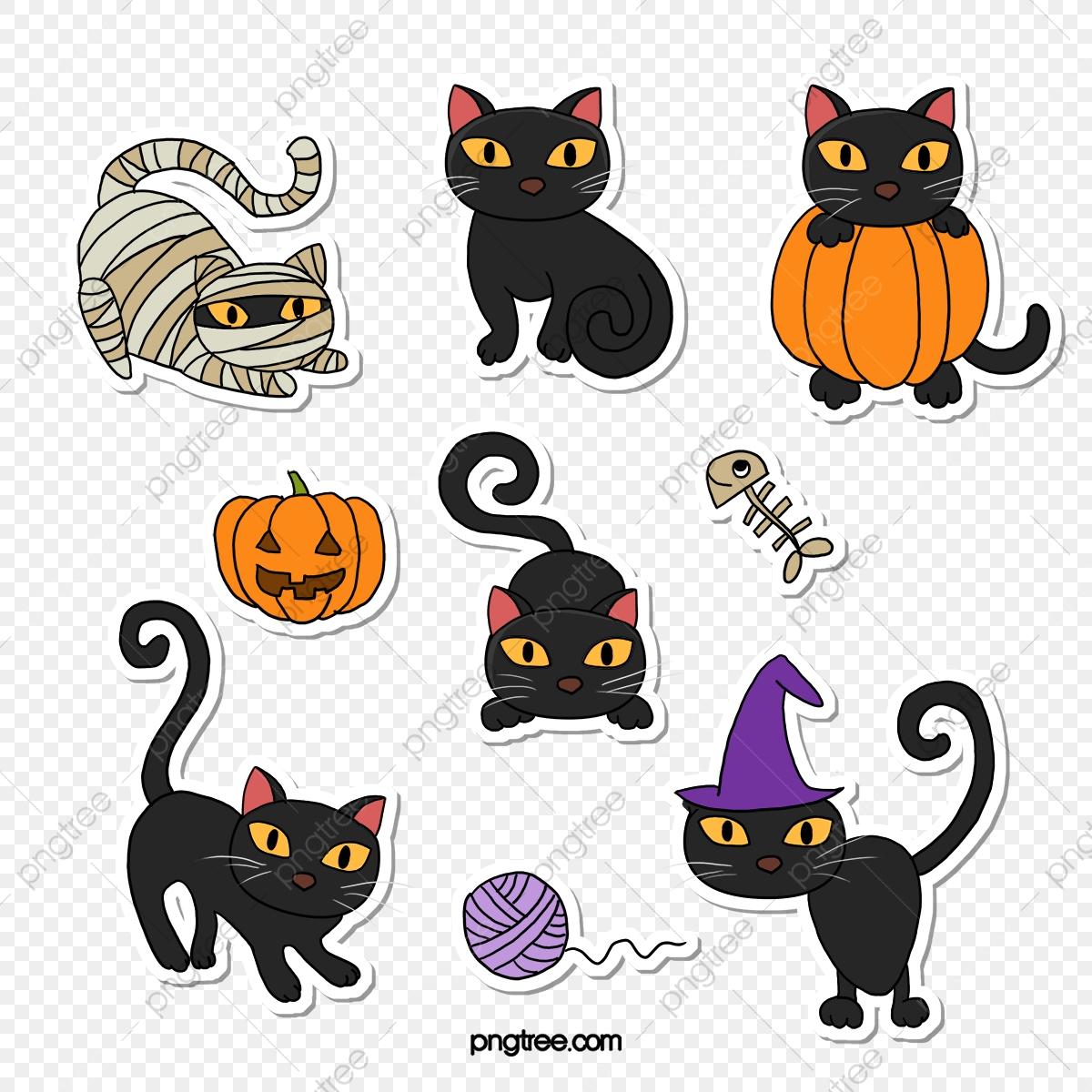 Chat De Halloween Dessiné À La Main Dessin Animé Jouant tout Dessin D Halloween Facile A Dessiner