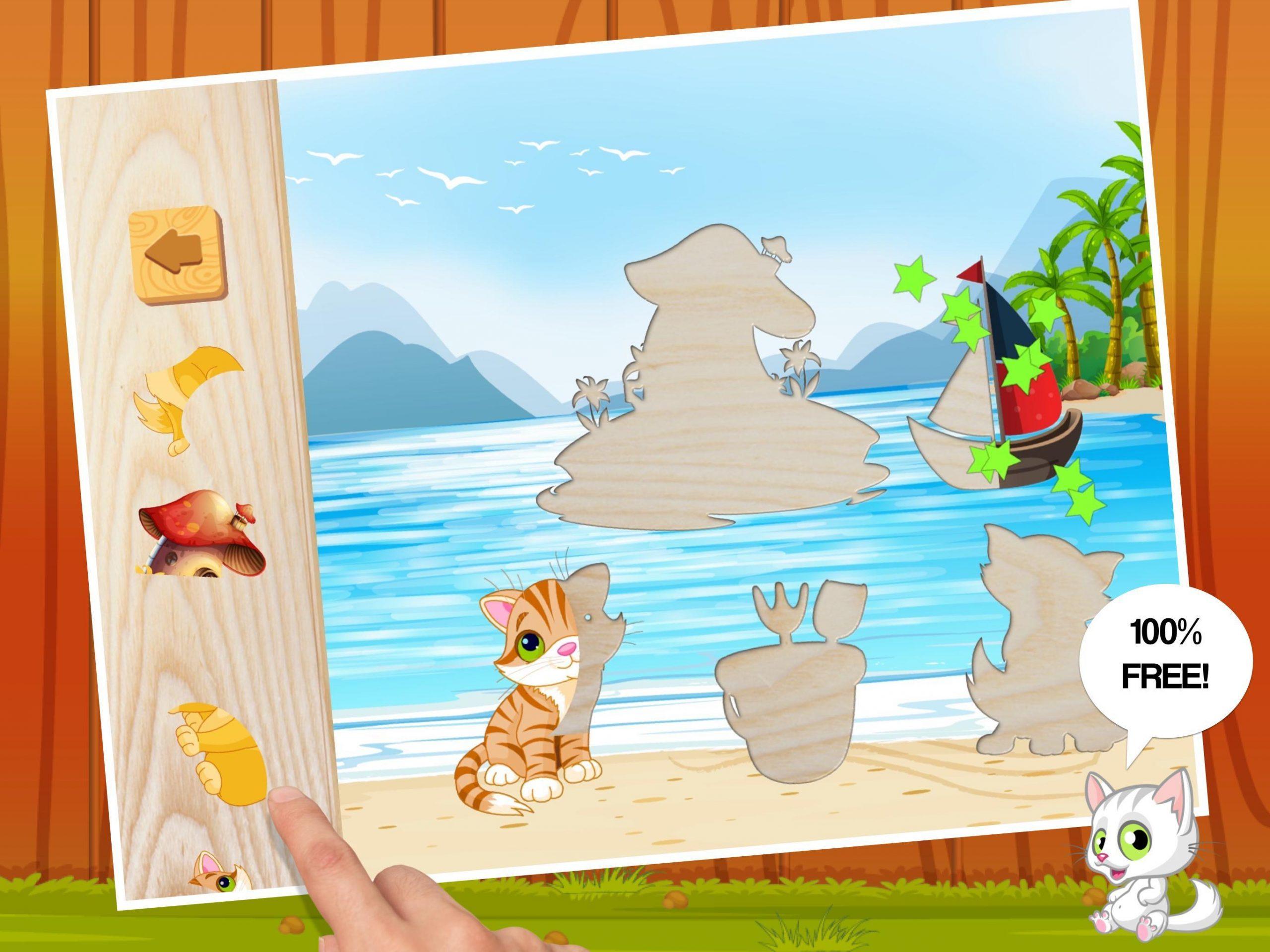Chat Mignon - Jeux Puzzle Pour Enfants Facile Pour Android concernant Puzzle Gratuit Facile