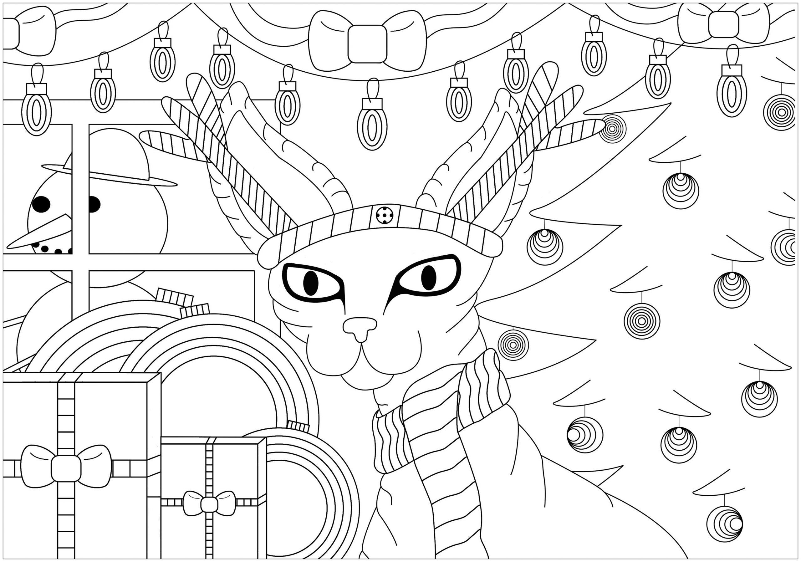 Chat Sphinx De Noël - Coloriages De Noël - Coloriages Pour avec Coloriage De Chat De Noel