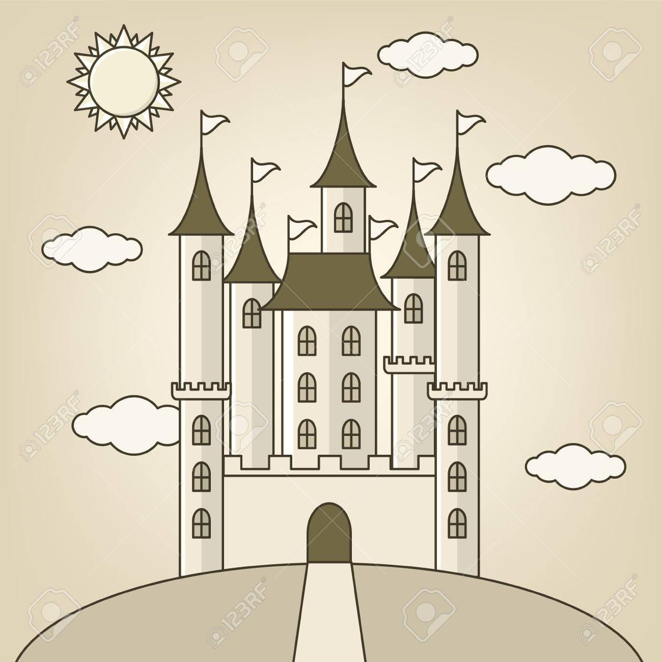 Château De Princesse Avec Des Nuages ? ? Et Des Dessins De Poupée Conception avec Chateau De Princesse Dessin