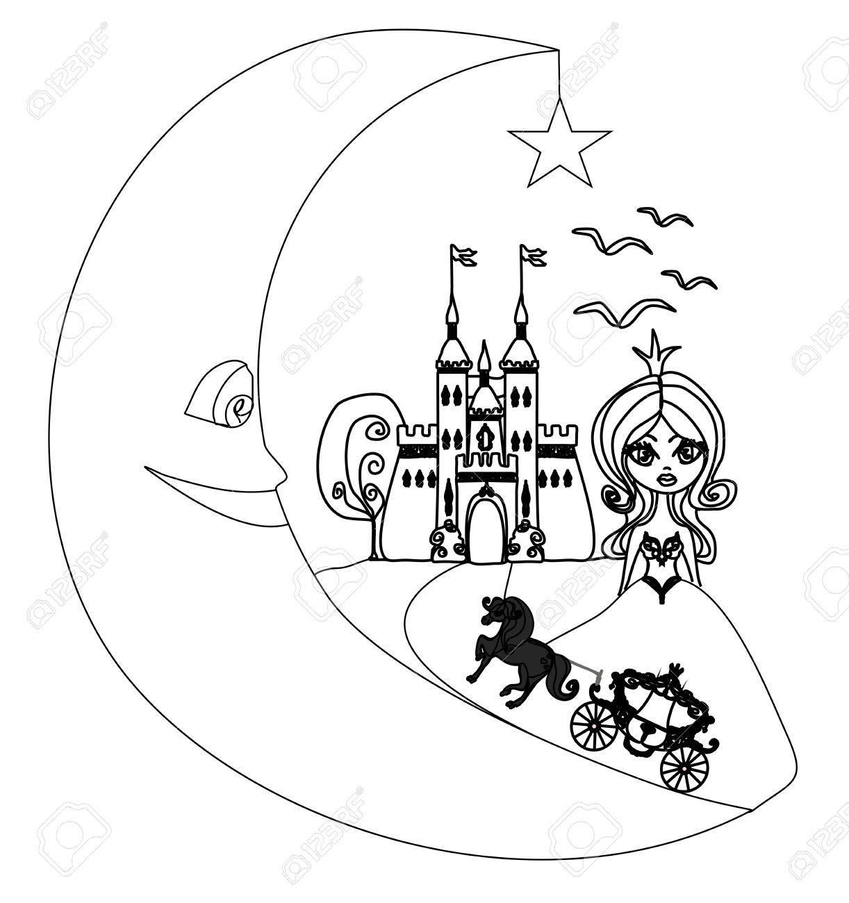 Château Médiéval, Princesse, Le Transport Et La Lune - Dessin À La Main  Illustration destiné Chateau De Princesse Dessin