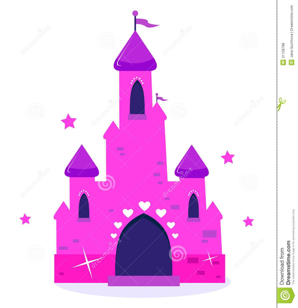Château Rose De Dessin Animé De Princesse D'isolement Sur Le pour Chateau De Princesse Dessin