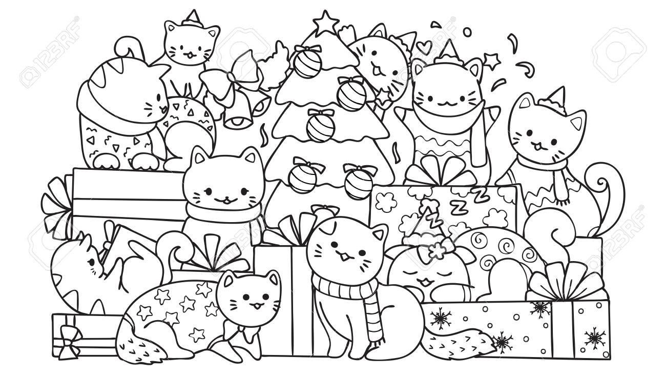 Chats Mignons Avec Des Boîtes-Cadeaux Et Arbre De Noël Pour La Page  D'élément De Design Et De Coloriage Pour Les Enfants. Illustration  Vectorielle tout Coloriage De Chat De Noel