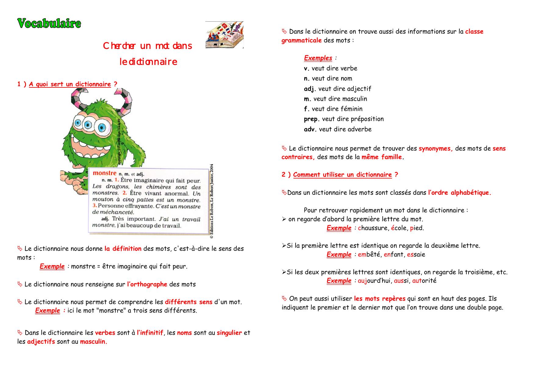 Chercher Un Mot Dans Le Dictionnaire à Chercher Les Mots