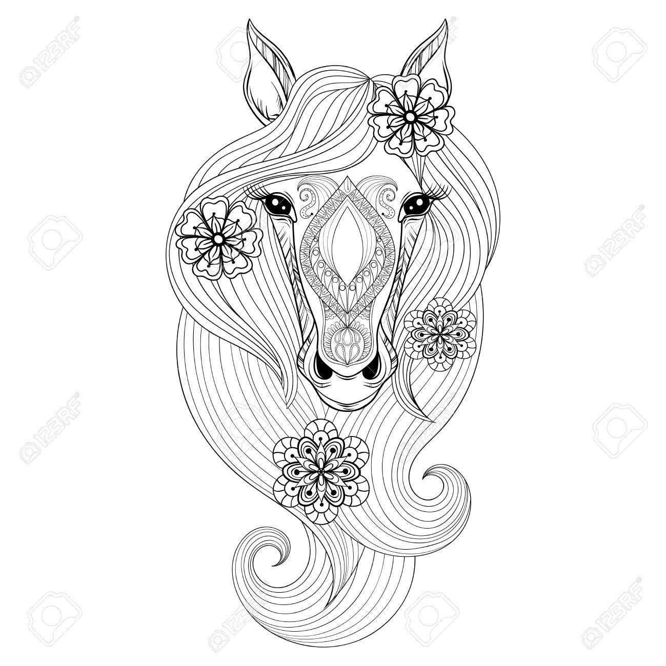 Cheval Vector. Coloriage Avec Le Visage De Cheval. Hand Drawn Modelée Tête  De Cheval Avec Des Fleurs Dans Les Cheveux, Artistiquement Cheval Décoratif encequiconcerne Dessin De Cheval A Colorier