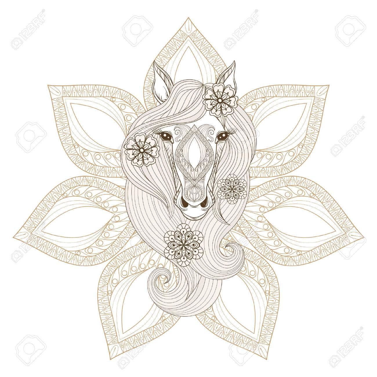 Cheval Vector. Coloriage Avec Le Visage De Cheval Sur Mandala Fond. Hand  Drawn Modelée Cheval Avec Des Fleurs Dans Les Cheveux, Artistiquement  Cheval dedans Dessin De Cheval A Colorier