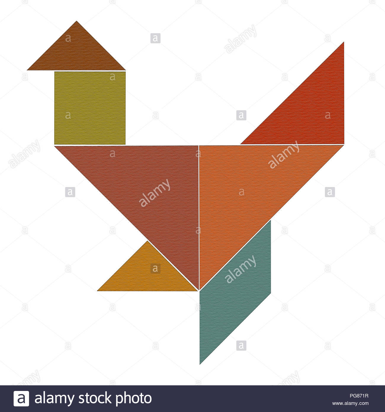 Chicken From Colored Pieces Of Puzzle Tangram, Woody Texture tout Pièces Tangram