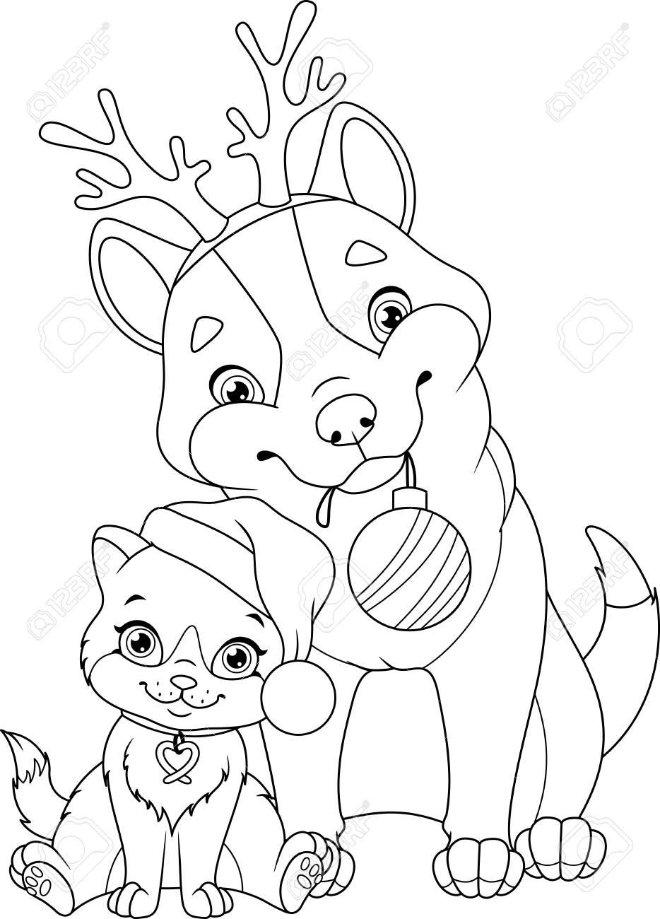 Chien De Noël Avec Chat Coloriage à Coloriage De Chat De Noel