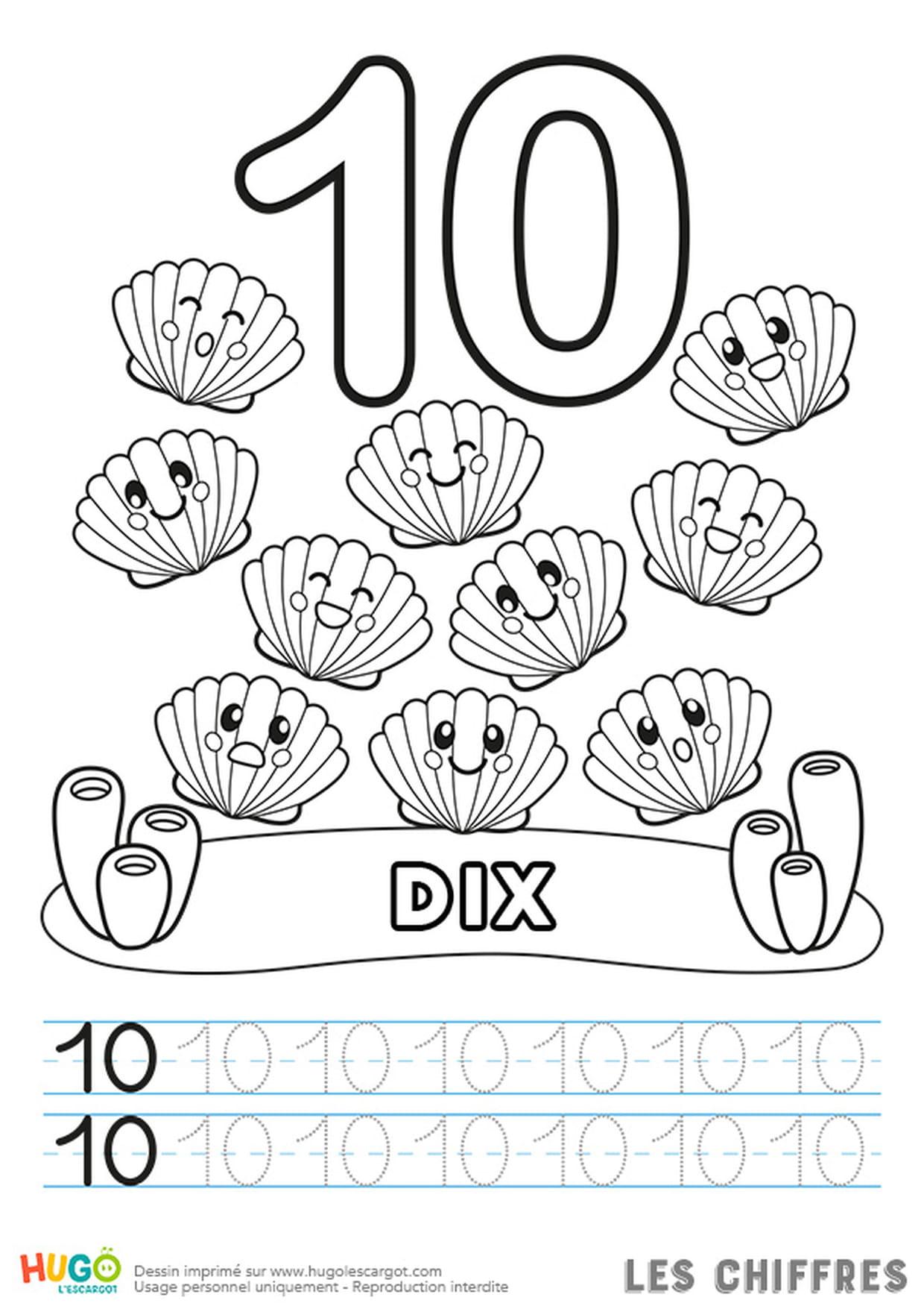 Chiffre 10, Les Coquilles Saint-Jacques serapportantà Coloriage Chiffres 1 À 10