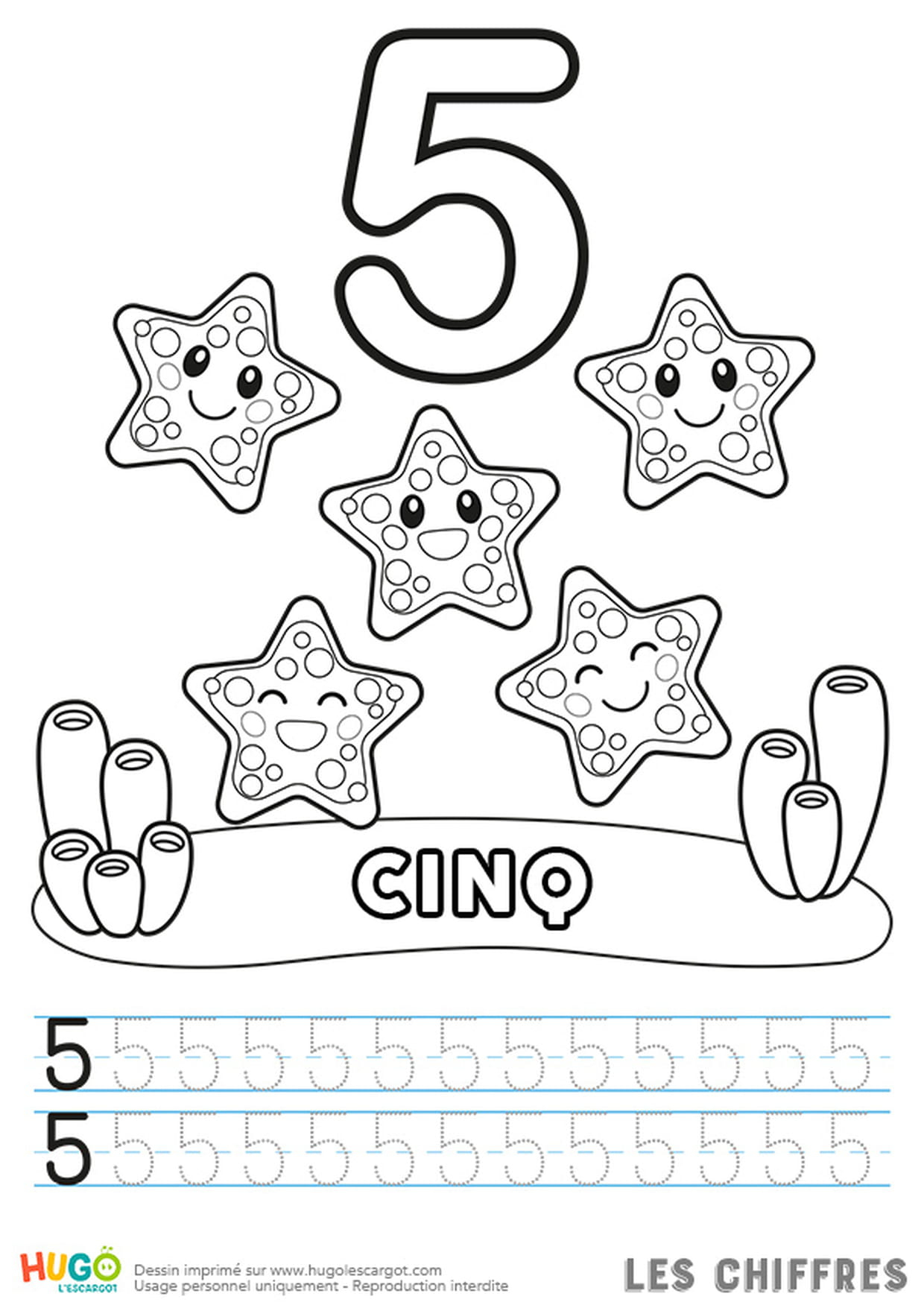 Chiffre 5, Les Étoiles De Mer serapportantà Apprendre À Tracer Les Chiffres