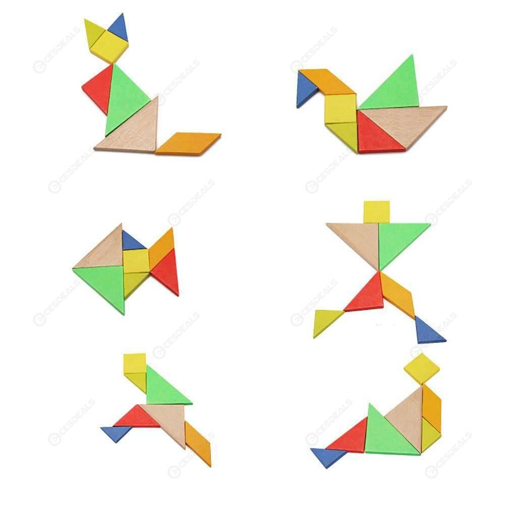 Children Mental Development Tangram Wooden Jigsaw Board Puzzle Set Toys pour Tangram En Ligne