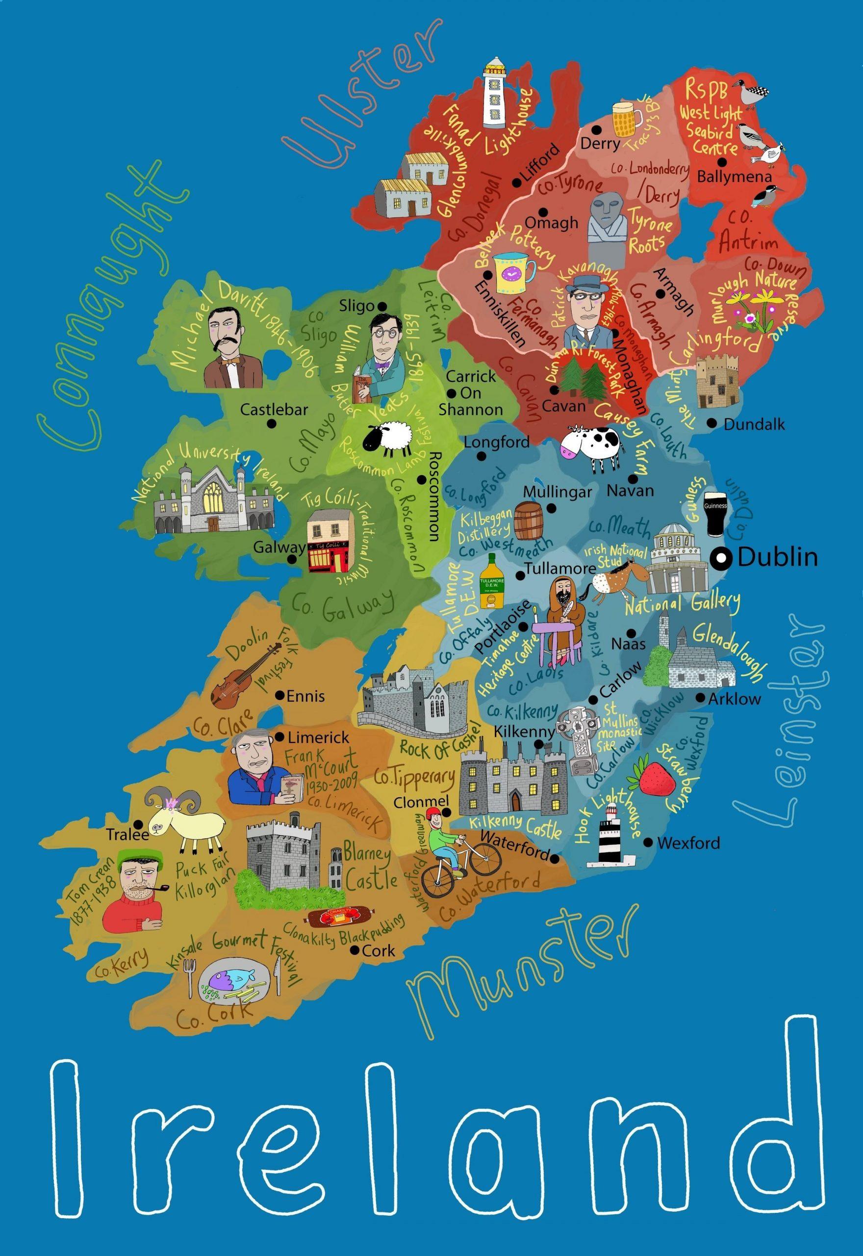 Childrens Carte De L'irlande - Carte De L'irlande Pour Les pour Carte Europe Enfant