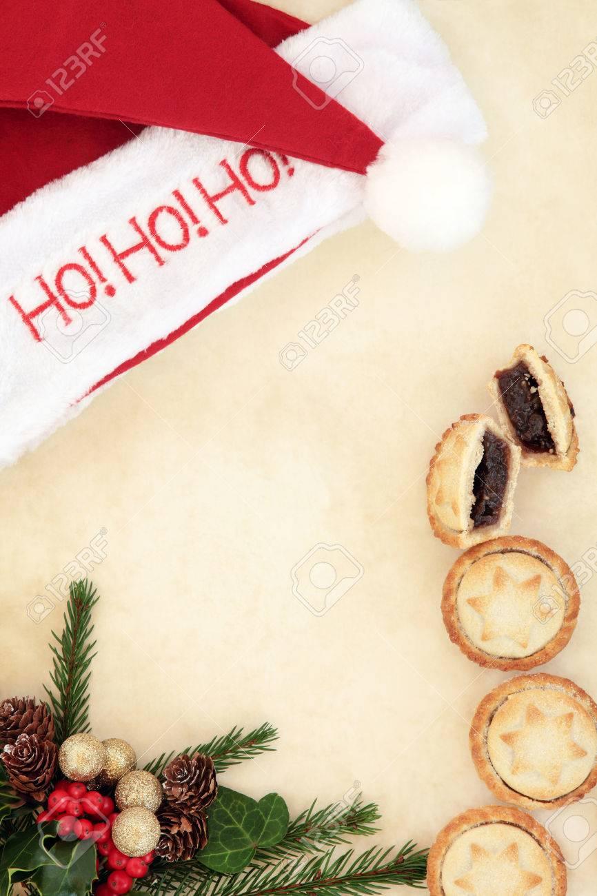 Christmas Blank Letter To Santa With Ho Ho Ho Hat, Mince Pies,.. destiné Papier Lettre De Noel