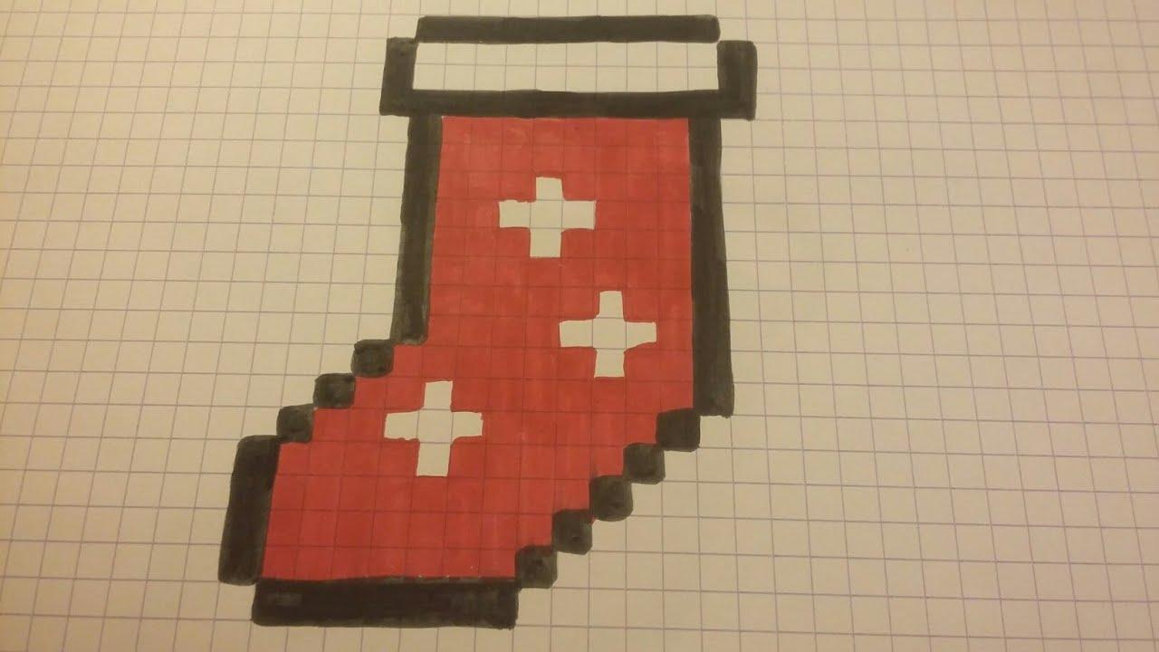 Christmas Draw - Chaussette De Noël ( Pixel Art ) pour Pixel Art De Noël