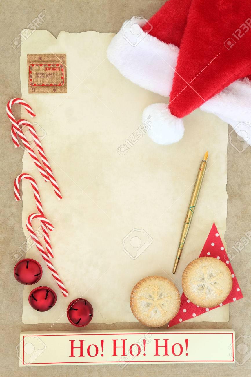 Christmas Eve Letter To Santa With Ho Ho Ho Sign, Red Hat, Pen,.. serapportantà Papier Lettre De Noel