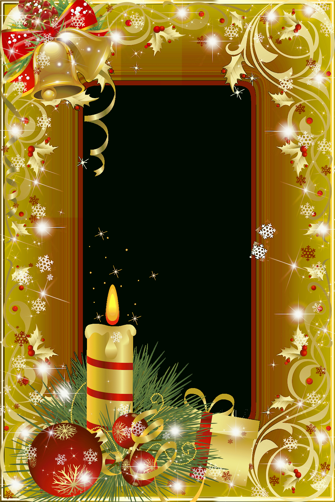 Christmas Frame With Bells And Candle And Ornament | Lettre tout Papier Lettre De Noel
