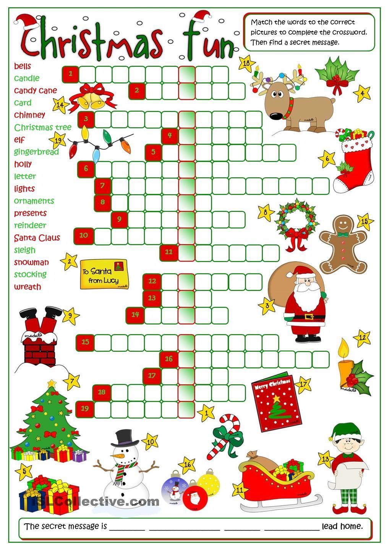 Christmas Fun - Crossword | Jeux Anglais, Noel Anglais pour Mots Croisés Noel