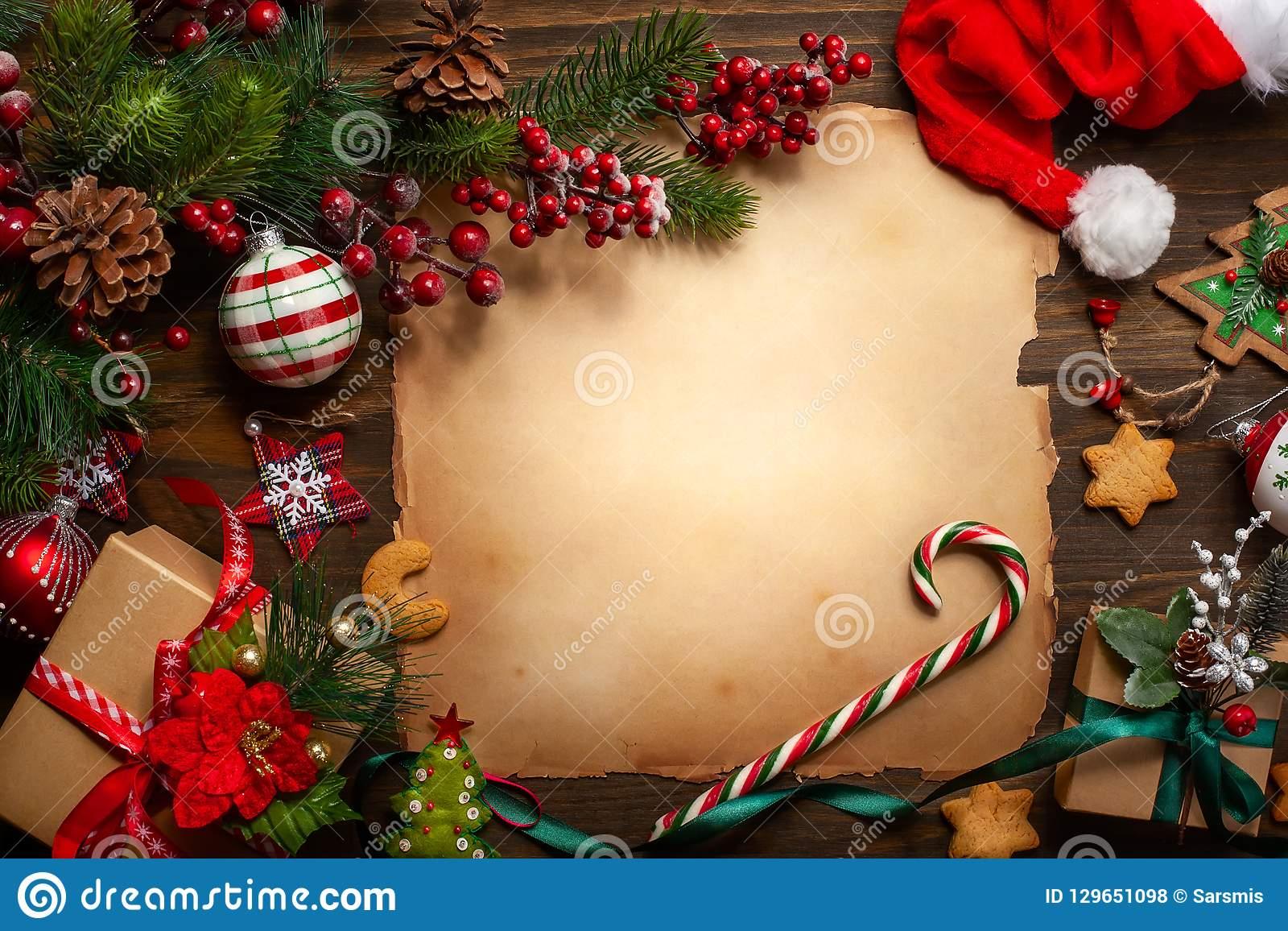 Christmas Greeting Card With Vintage Paper For Letter Santa dedans Papier Lettre De Noel