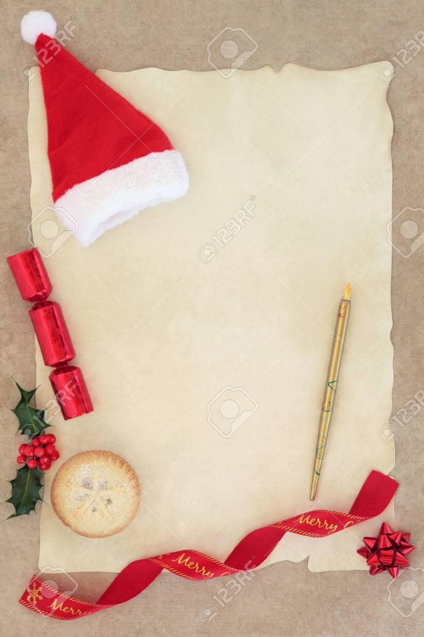 Christmas Letter To Santa Claus With Hat, Old Pen, Mince Pie.. avec Papier Lettre De Noel