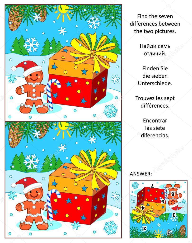 Christmas Or New Year Find The Differences Picture Puzzle destiné Les 5 Differences