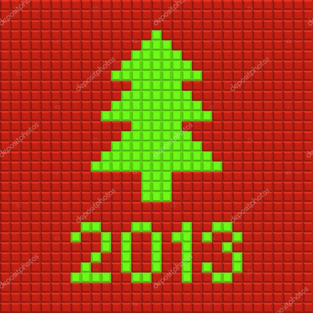 Christmas Pixel Art | Christmas Tree Background In The Style serapportantà Pixel Art De Noël
