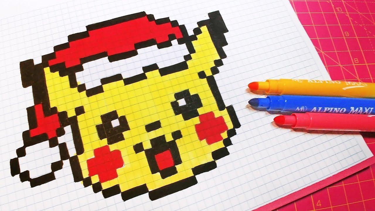 Christmas Pixel Art - How To Draw Santa Claus Pikachu #pixelart à Pixel Art Pere Noel