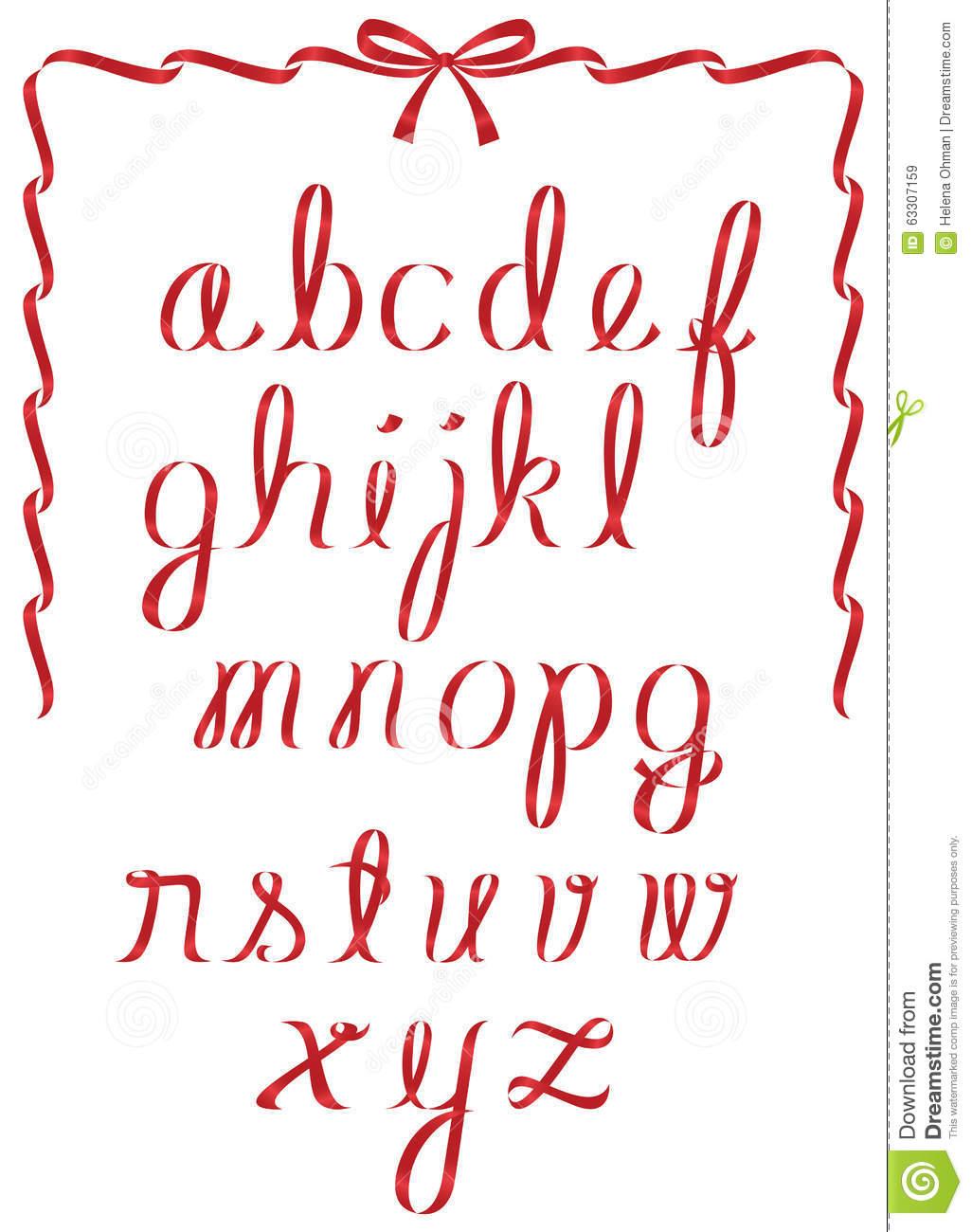 Christmas Ribbon Alphabet Stock Vector. Illustration Of Type à Alphabet Script Minuscule
