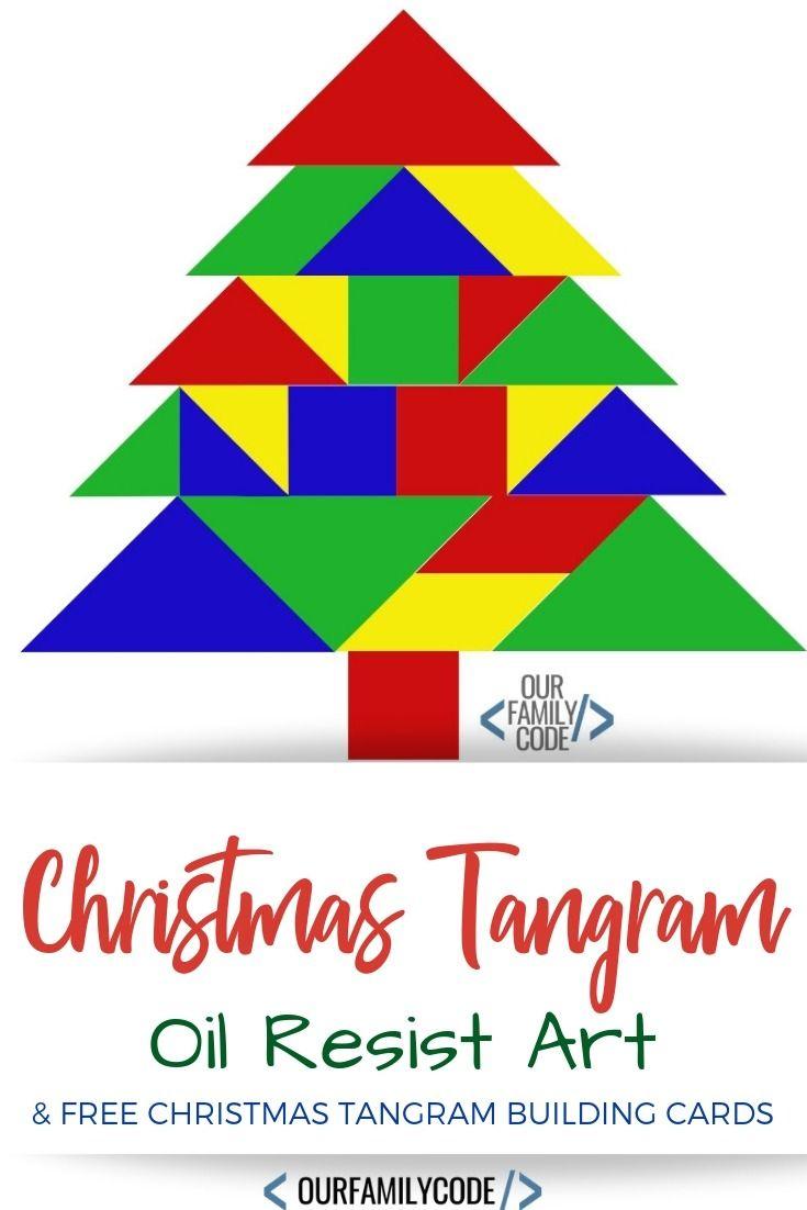 Christmas Tangram Oil Resist Art Preschool Steam Activity avec Tangram Enfant