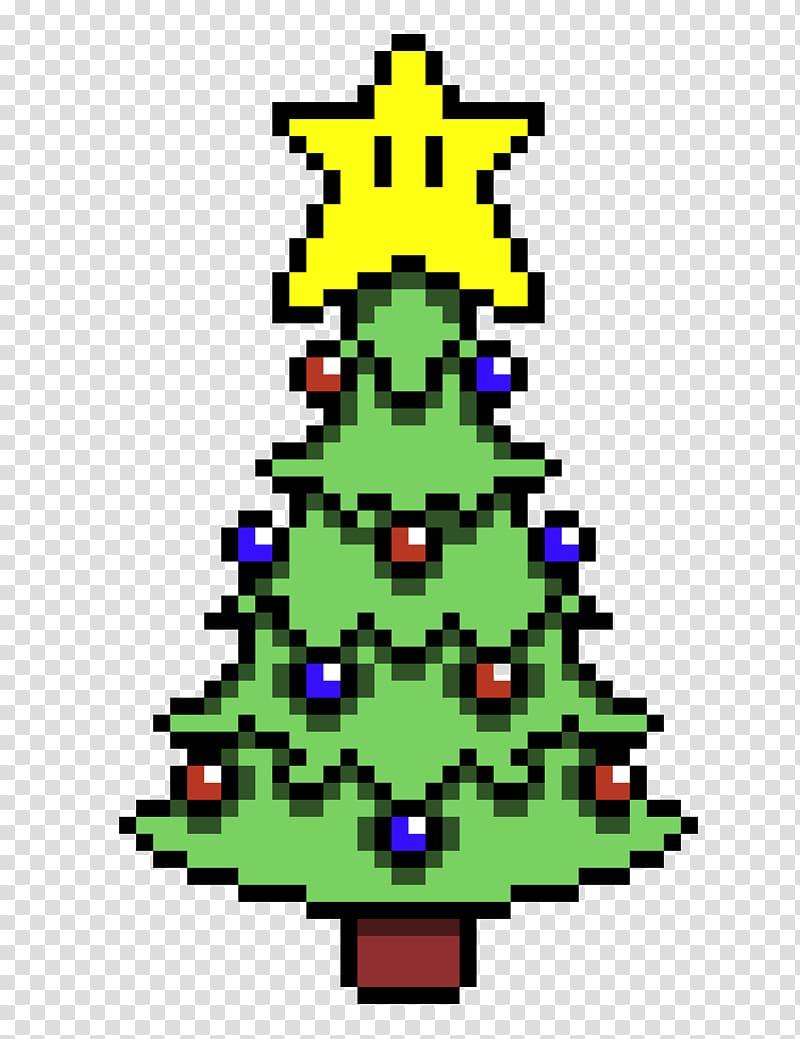 Christmas Tree Bead Pixel Art Mario, Pixel Art Transparent pour Pixel Art De Noël