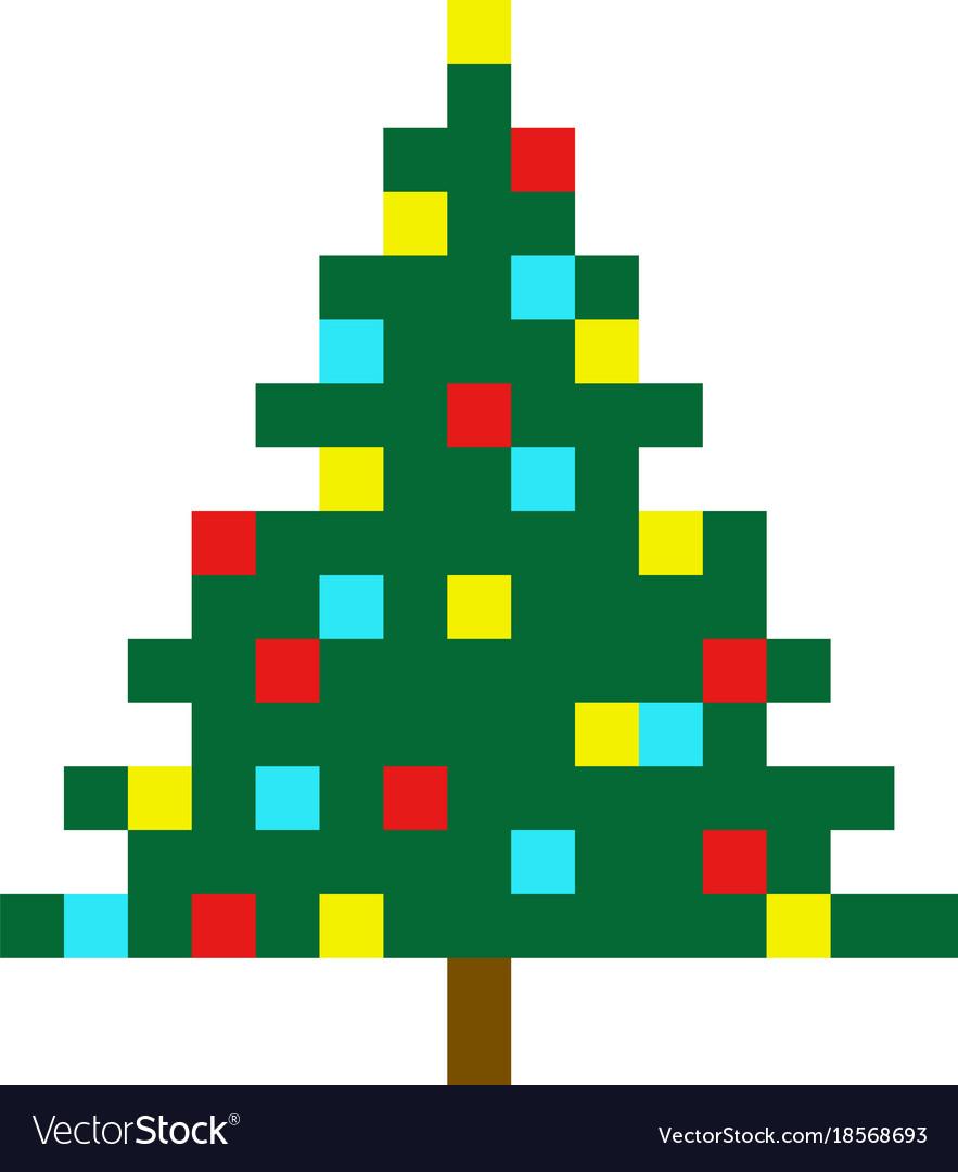 Christmas Tree Pixel Art Cartoon Retro Game Style serapportantà Pixel Art De Noël