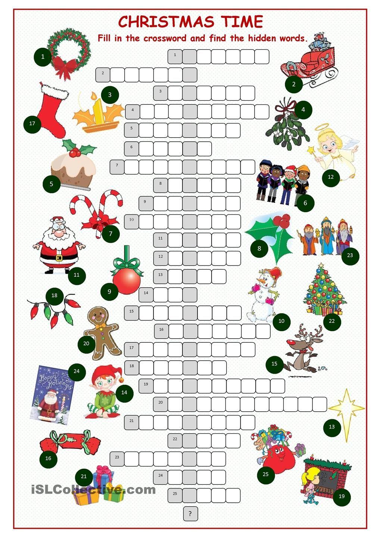 Christnas Time Crossword Puzzle | Jeux Anglais, Etiquettes pour Jeu En Anglais À Imprimer