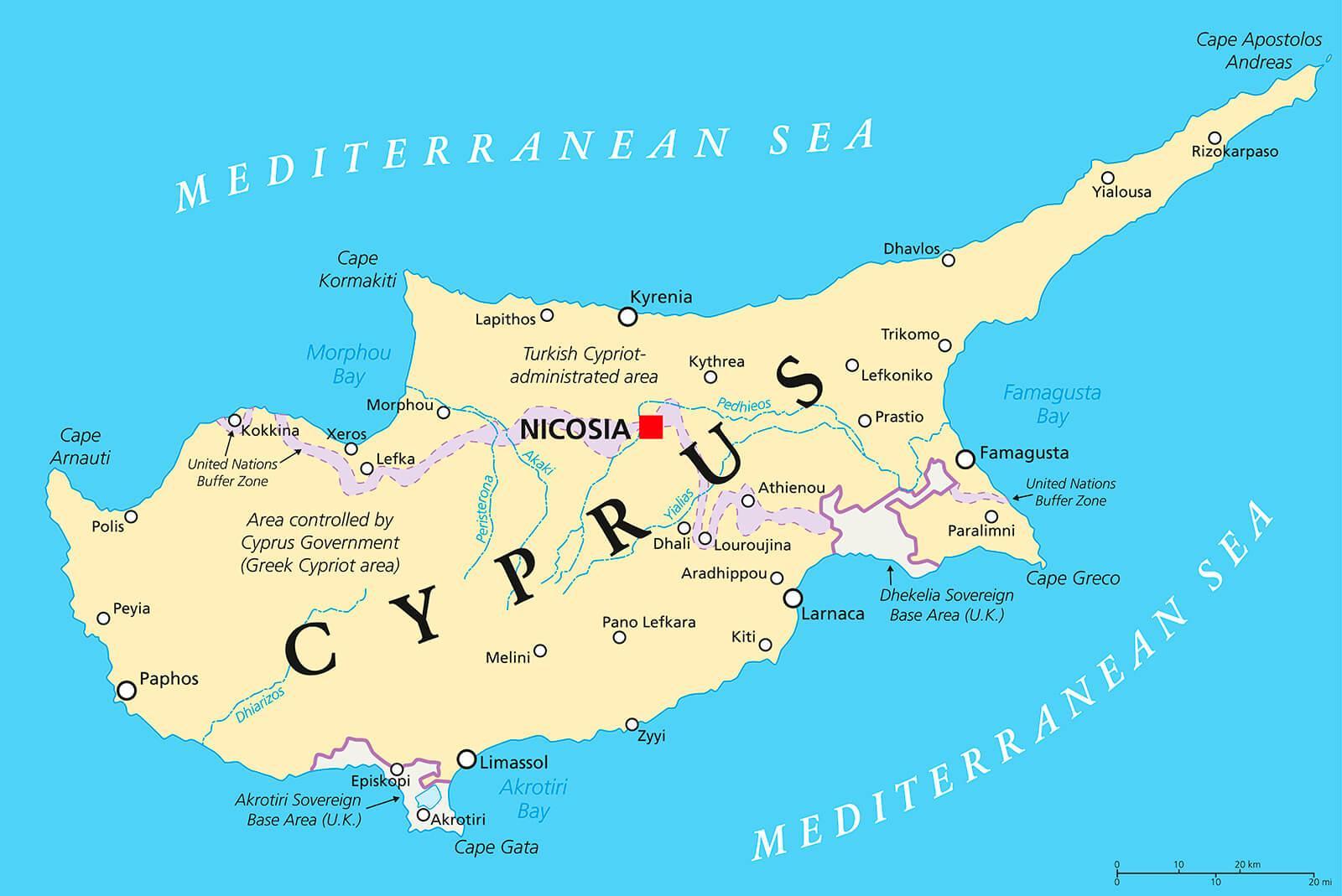 Chypre Capitale La Carte - Capitale De Chypre De La Carte intérieur Carte Capitale Europe