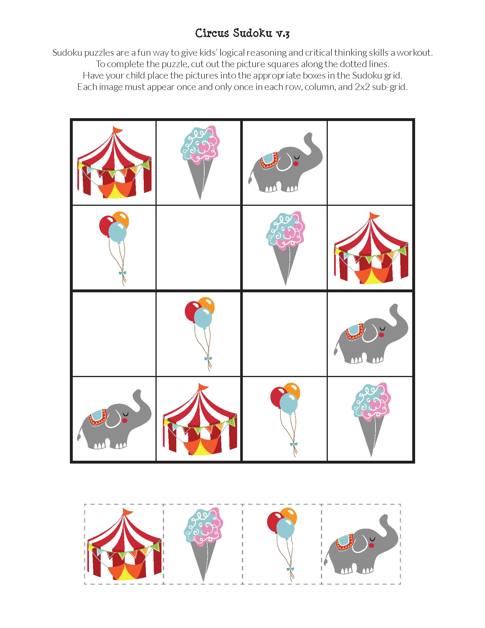 Circus Sudoku {Free Printables} | Sudoku Puzzles, Preschool serapportantà Sudoku Junior À Imprimer
