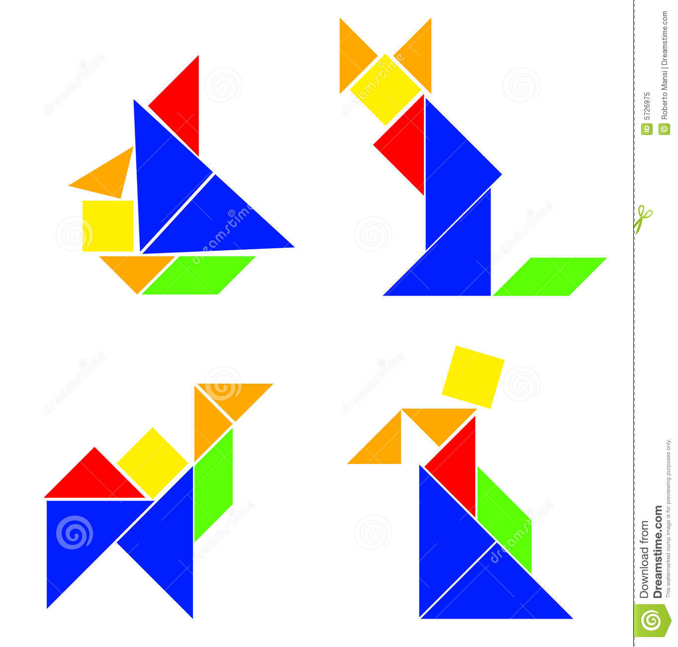 Classic Tangram - Various Compositions Stock Illustration à Tangram Chat